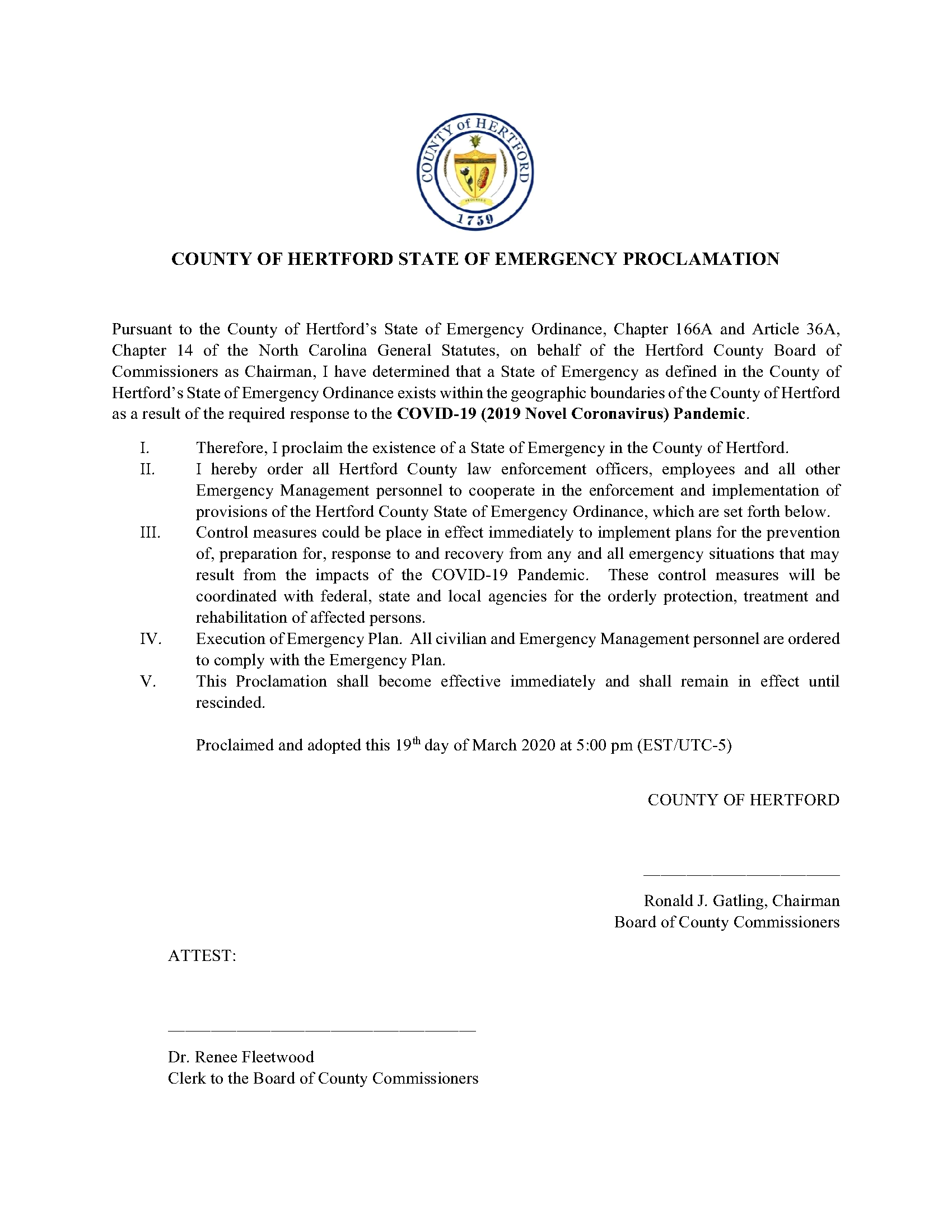 COVID-19 State of Emergency Proclamation 031920