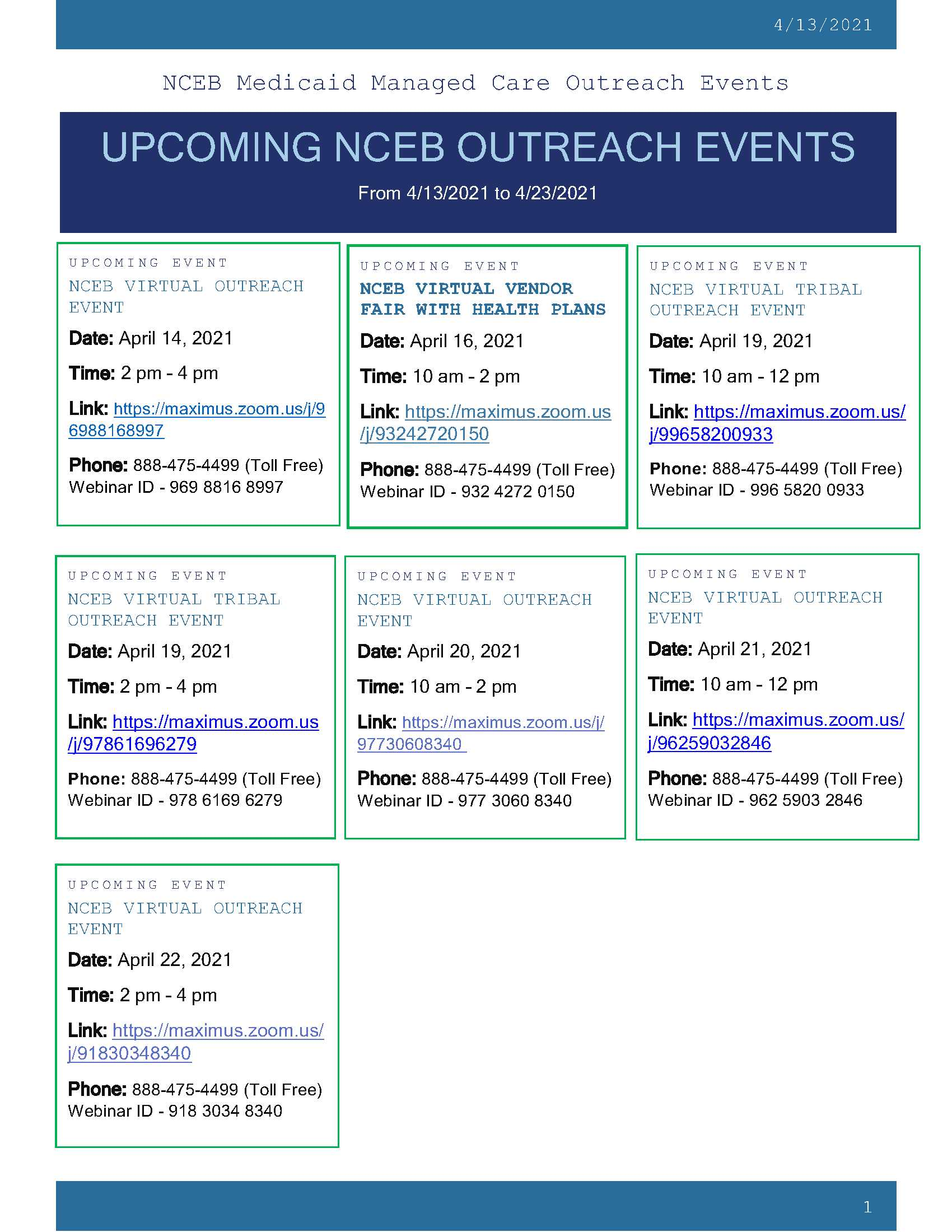 NCEB COUNTY OUTREACH EVENTS 4.13.2021