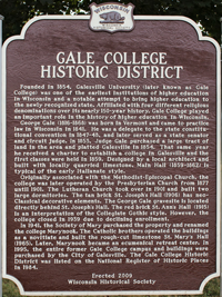 Photo of a historical marker for Gale College Historic District