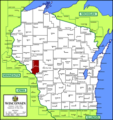 Picture of a map of Wisconsin showing where Trempealeau County is located