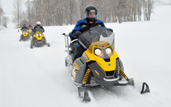 Photo of people snowmobiling